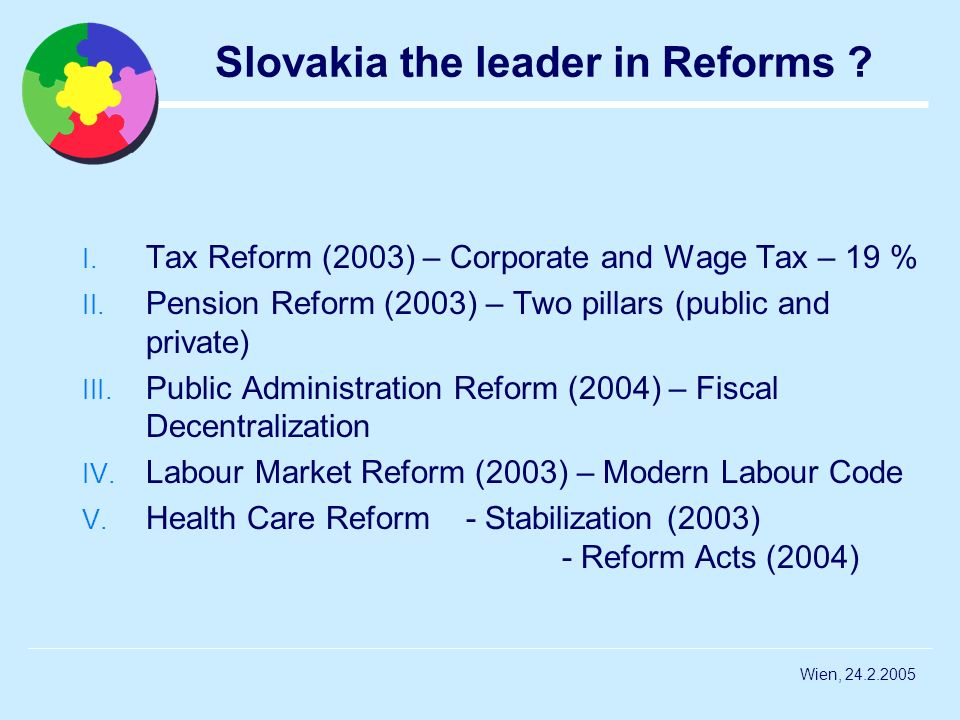Wien, 24.2.2005 Slovakia the leader in Reforms ? I. Tax Reform (2003) – Corporate and Wage Tax – 19 % II. Pension Reform (2003) – Two pillars (public
