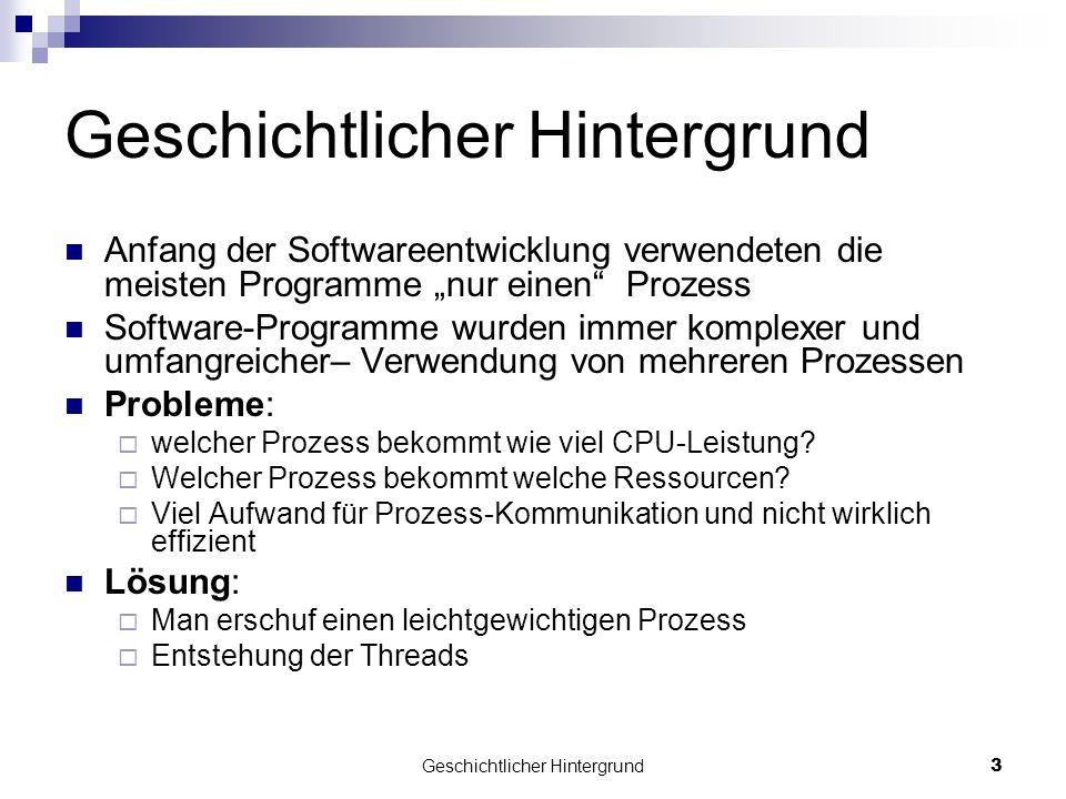 Geschichtlicher Hintergrund3 Anfang der Softwareentwicklung verwendeten die meisten Programme nur einen Prozess Software-Programme wurden immer komple