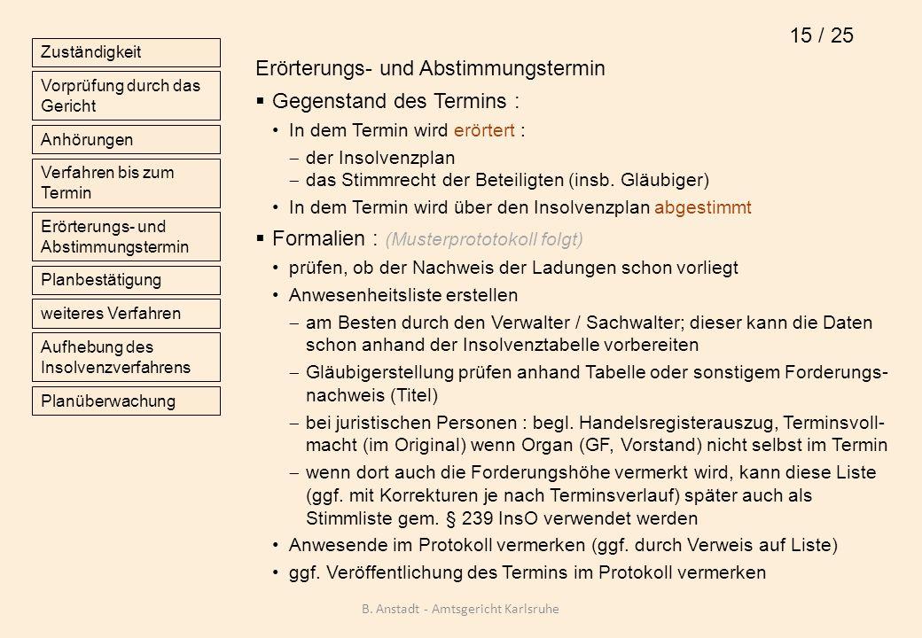 Erörterungs- und Abstimmungstermin Gegenstand des Termins : In dem Termin wird erörtert : der Insolvenzplan das Stimmrecht der Beteiligten (insb. Gläu