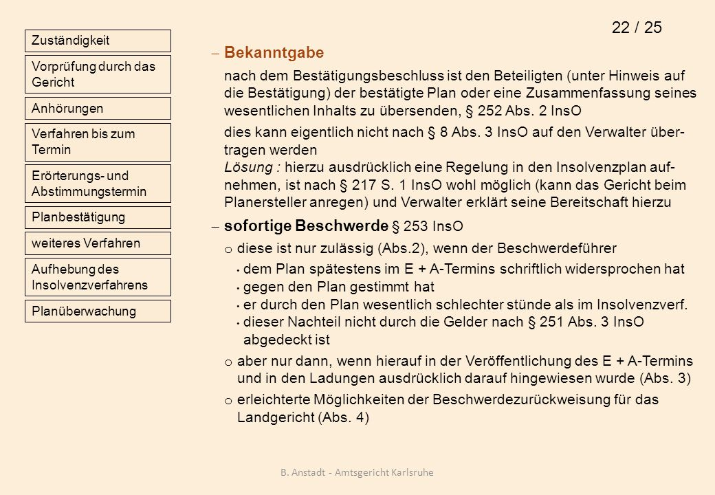 Bekanntgabe nach dem Bestätigungsbeschluss ist den Beteiligten (unter Hinweis auf die Bestätigung) der bestätigte Plan oder eine Zusammenfassung seine