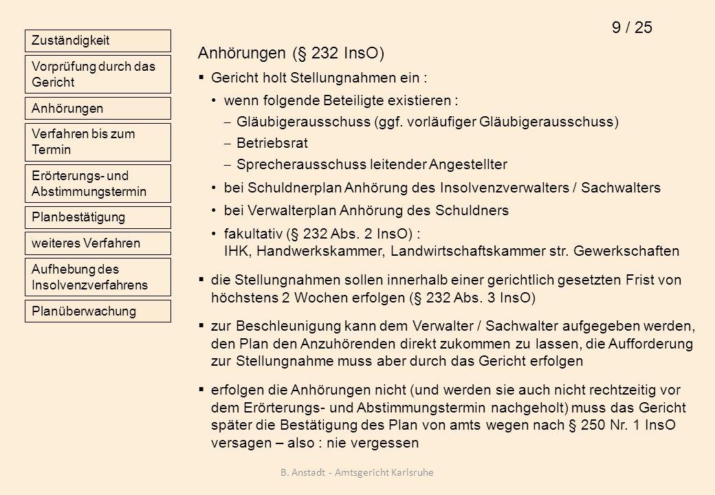 Bestätigung des Insolvenzplanes Vorbereitung im Erörterungs- und Abstimmungstermin : Anhörung der in § 248 Abs.