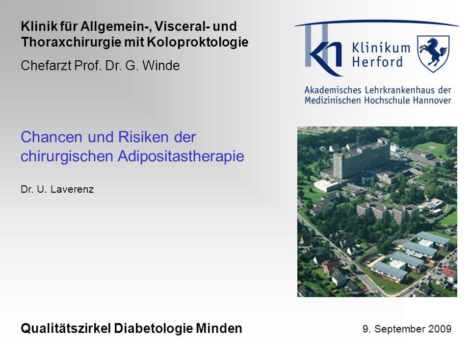 Chancen und Risiken der chirurgischen Adipositastherapie Qualitätszirkel Diabetologie Minden Dr. U. Laverenz Klinik für Allgemein-, Visceral- und Thor