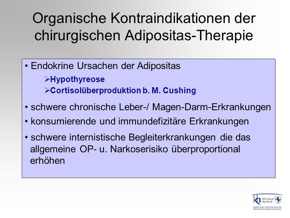 Organische Kontraindikationen der chirurgischen Adipositas-Therapie Endokrine Ursachen der Adipositas Hypothyreose Cortisolüberproduktion b. M. Cushin