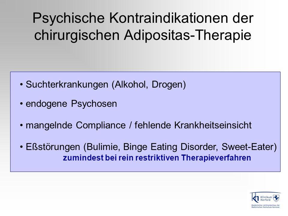 Psychische Kontraindikationen der chirurgischen Adipositas-Therapie Suchterkrankungen (Alkohol, Drogen) endogene Psychosen mangelnde Compliance / fehl