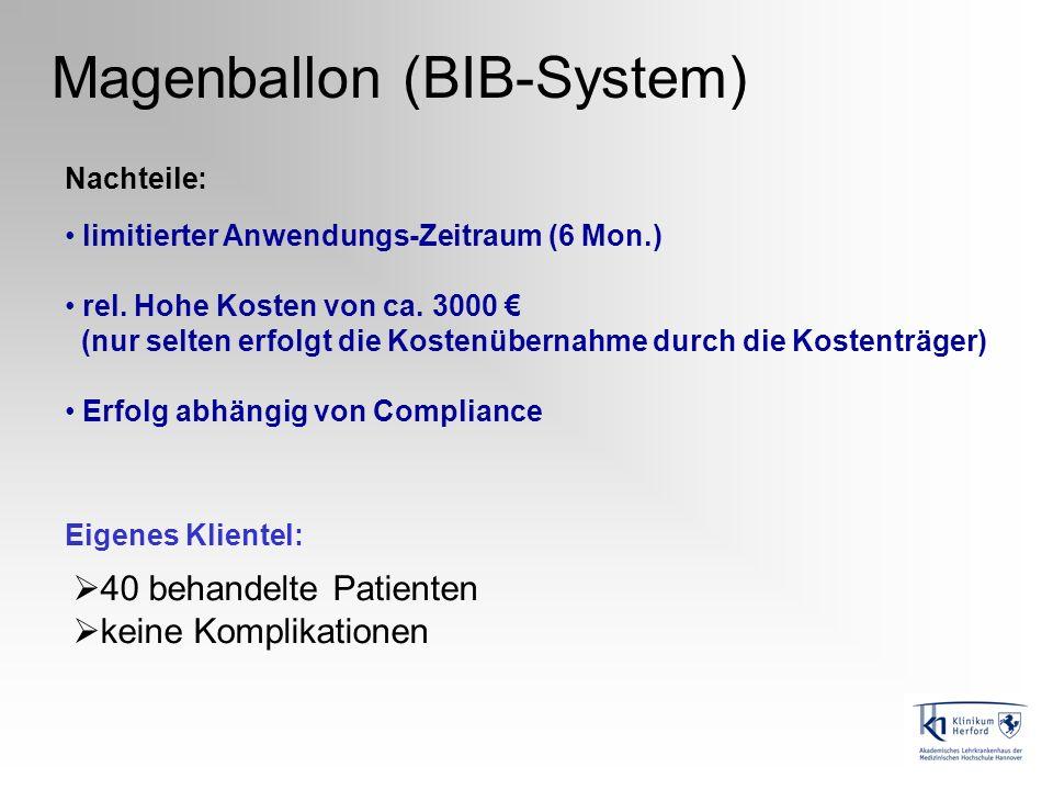 Magenballon (BIB-System) limitierter Anwendungs-Zeitraum (6 Mon.) rel. Hohe Kosten von ca. 3000 (nur selten erfolgt die Kostenübernahme durch die Kost