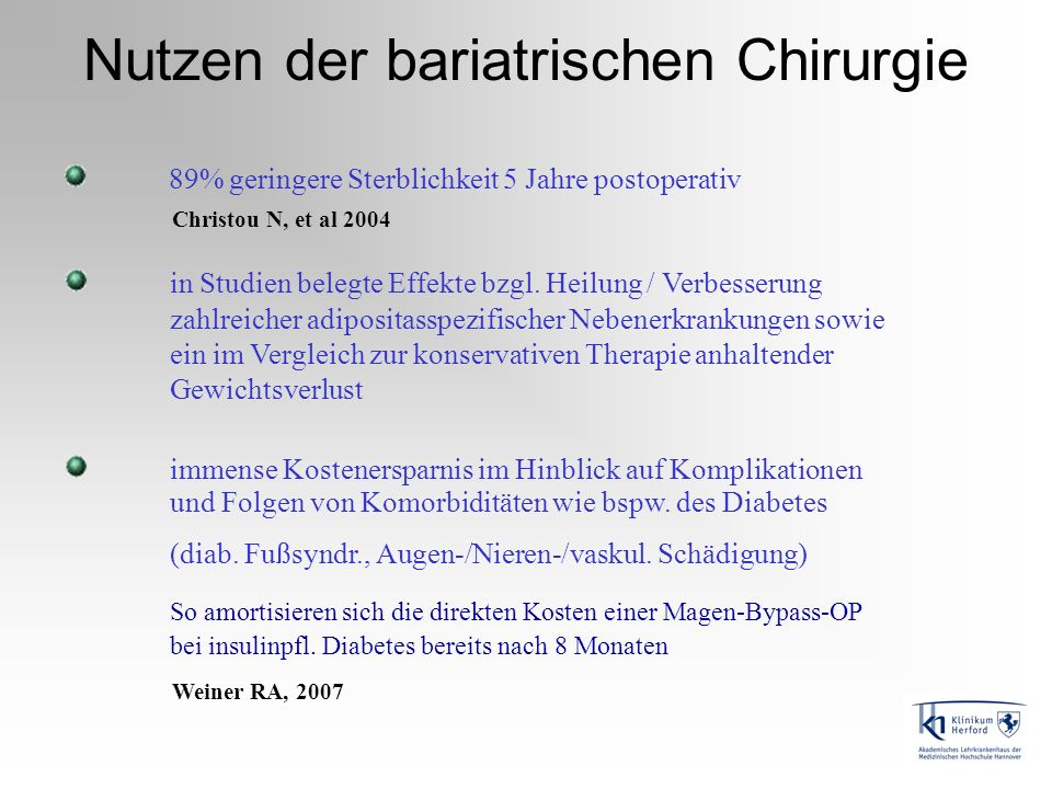 Nutzen der bariatrischen Chirurgie 89% geringere Sterblichkeit 5 Jahre postoperativ Christou N, et al 2004 immense Kostenersparnis im Hinblick auf Kom