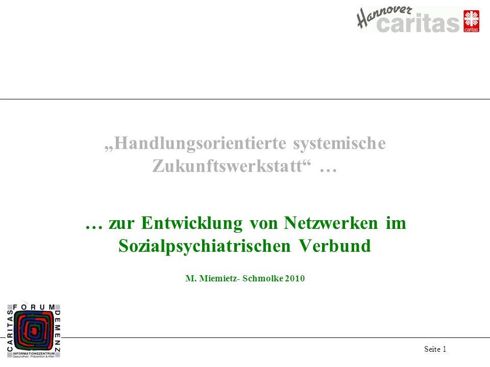 Seite 1 Handlungsorientierte systemische Zukunftswerkstatt … … zur Entwicklung von Netzwerken im Sozialpsychiatrischen Verbund M.