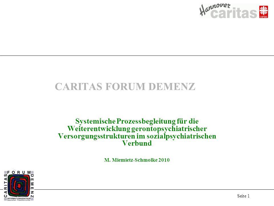 Seite 1 CARITAS FORUM DEMENZ Systemische Prozessbegleitung für die Weiterentwicklung gerontopsychiatrischer Versorgungsstrukturen im sozialpsychiatris