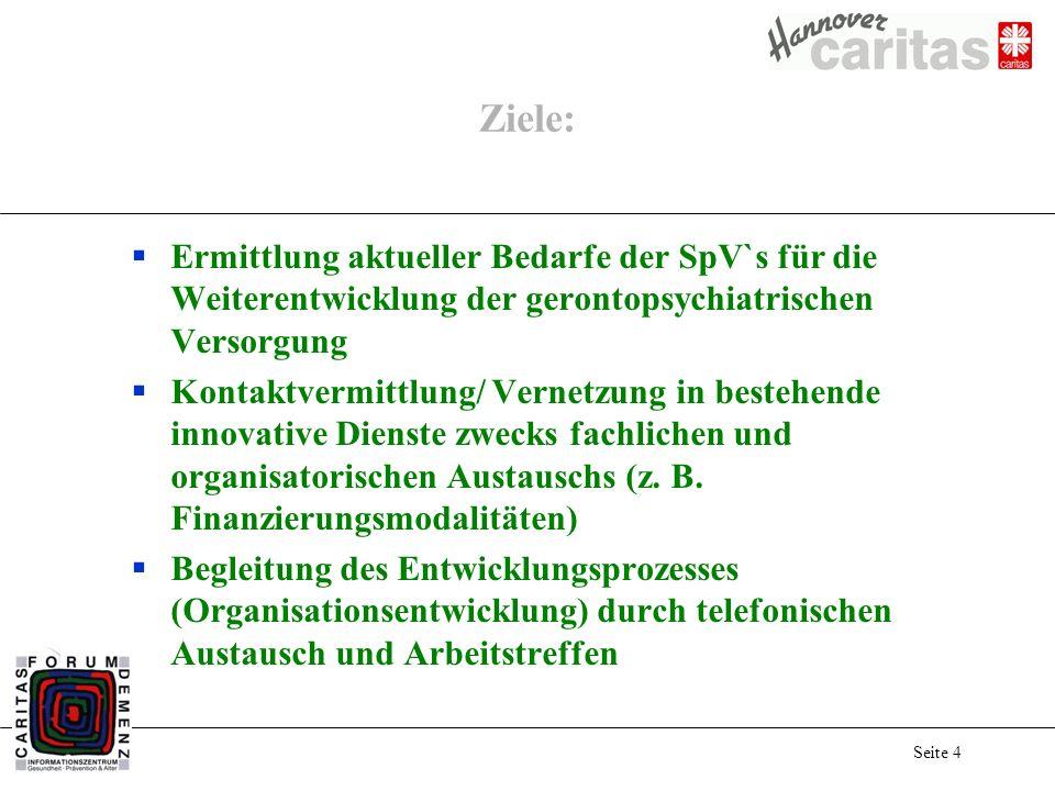 Seite 4 Ziele: Ermittlung aktueller Bedarfe der SpV`s für die Weiterentwicklung der gerontopsychiatrischen Versorgung Kontaktvermittlung/ Vernetzung i