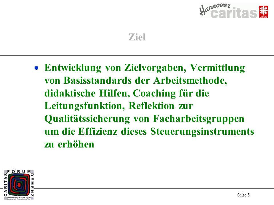Seite 5 Ziel Entwicklung von Zielvorgaben, Vermittlung von Basisstandards der Arbeitsmethode, didaktische Hilfen, Coaching für die Leitungsfunktion, R