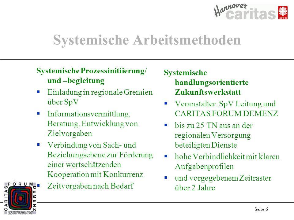 Seite 6 Systemische Arbeitsmethoden Systemische Prozessinitiierung/ und –begleitung Einladung in regionale Gremien über SpV Informationsvermittlung, B