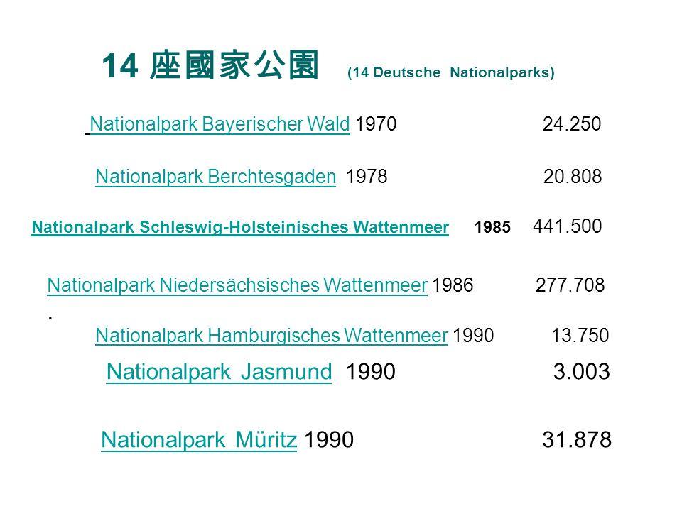 14 Deutsche Nationalparks Nationalpark Sächsische SchweizNationalpark Sächsische Schweiz 1990 9.292 Nationalpark Unteres OdertalNationalpark Unteres Odertal 1990 10.635 Nationalpark Vorpommersche BoddenlandschaftNationalpark Vorpommersche Boddenlandschaft 1990 80.500 Nationalpark HainichNationalpark Hainich 1997 7.600 Nationalpark EifelNationalpark Eifel 2004 10.700 Nationalpark Kellerwald-EderseeNationalpark Kellerwald-Edersee 2004 5.724 Nationalpark HarzNationalpark Harz 2006 24.700 ******************************************************** 962.048