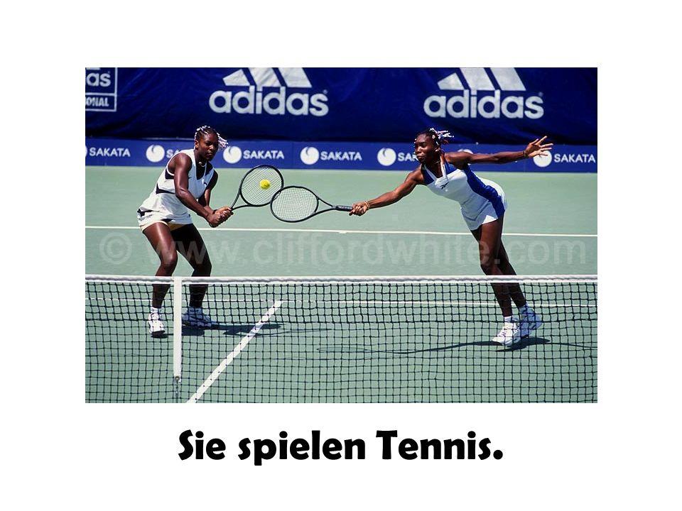 Sie spielen Tennis.