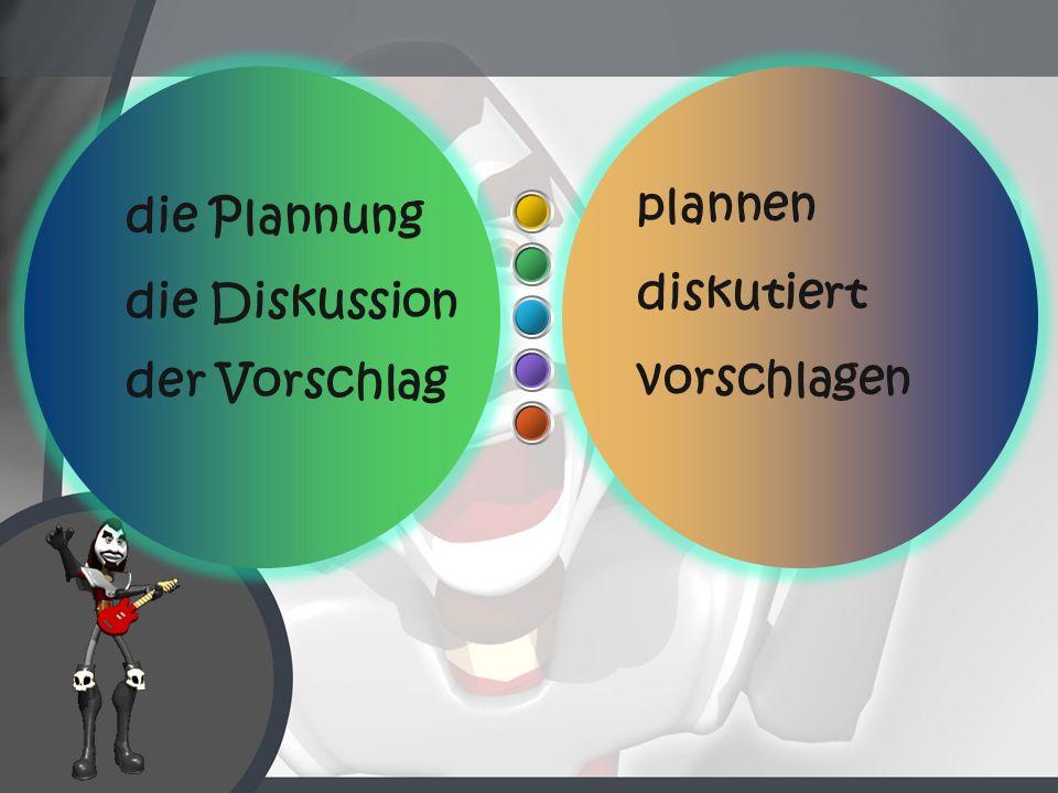 plannen diskutiert vorschlagen die Plannung die Diskussion der Vorschlag