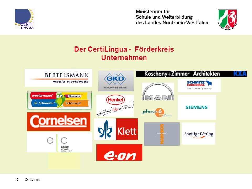 CertiLingua10 Der CertiLingua - Förderkreis Unternehmen