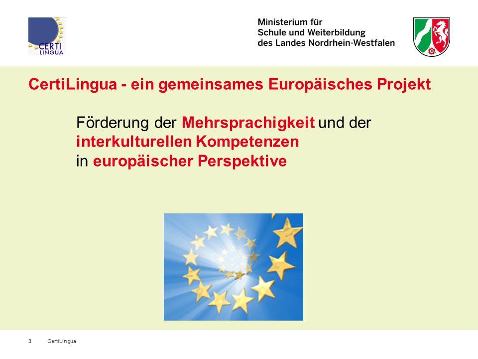 CertiLingua3 CertiLingua - ein gemeinsames Europäisches Projekt Förderung der Mehrsprachigkeit und der interkulturellen Kompetenzen in europäischer Pe