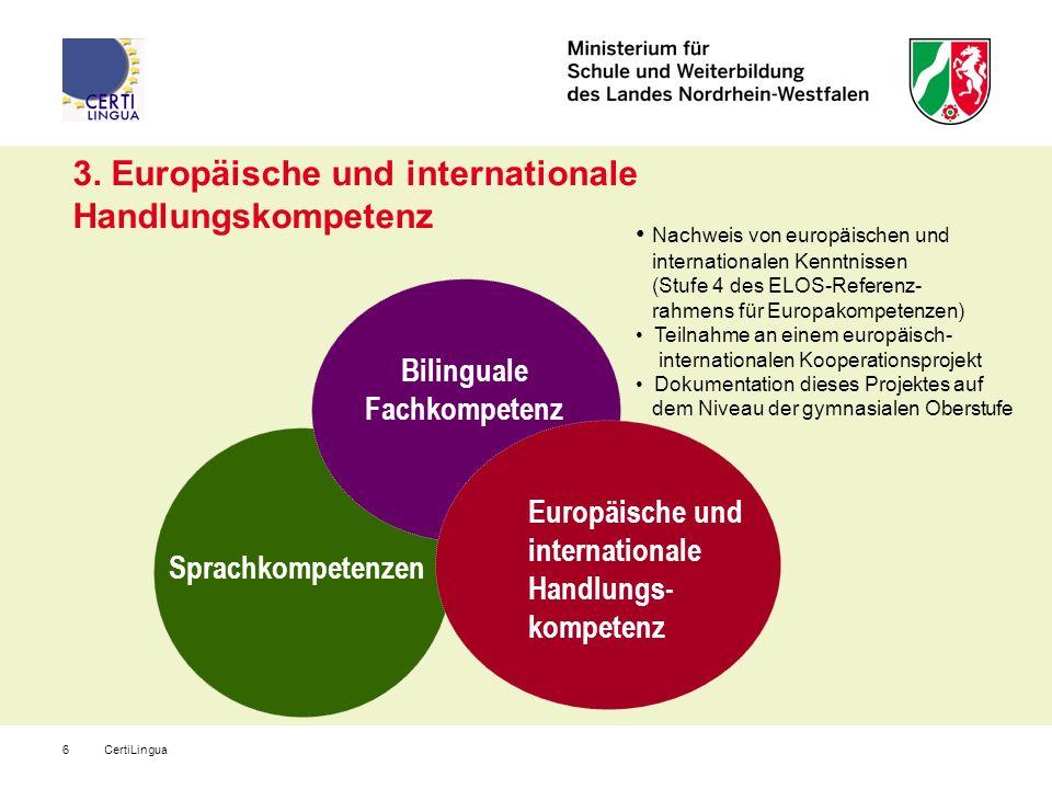 CertiLingua6 3. Europäische und internationale Handlungskompetenz Europäische und internationale Handlungs- kompetenz Nachweis von europäischen und in