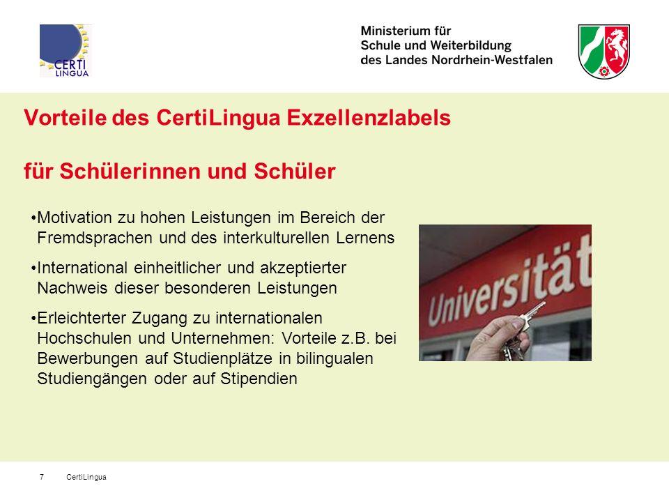 CertiLingua7 Vorteile des CertiLingua Exzellenzlabels für Schülerinnen und Schüler Motivation zu hohen Leistungen im Bereich der Fremdsprachen und des
