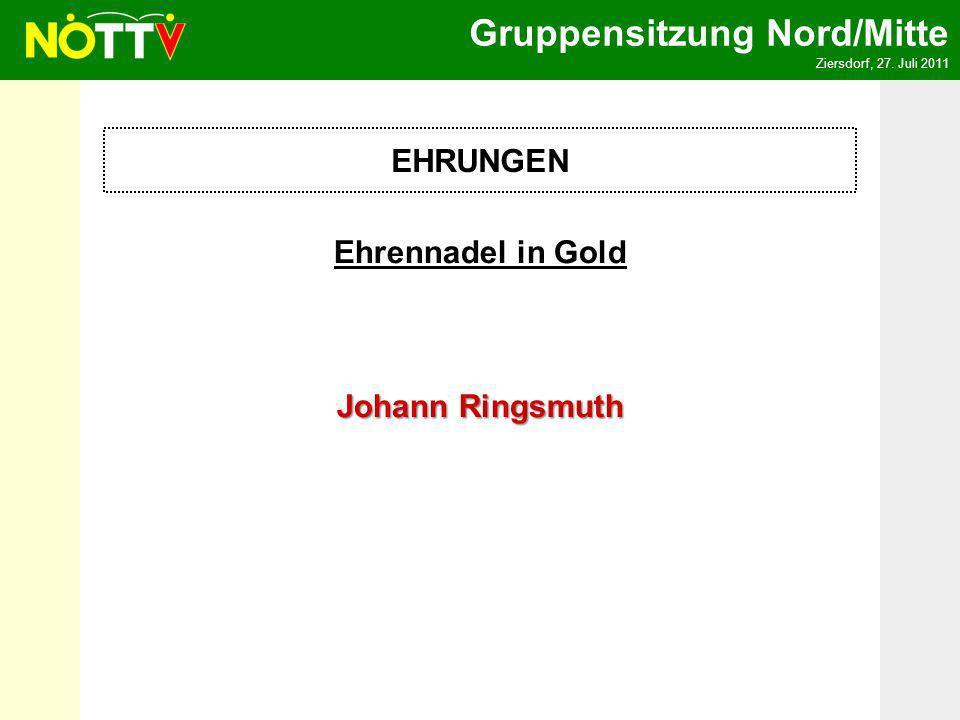 Gruppensitzung Nord/Mitte Ziersdorf, 27. Juli 2011 Ehrennadel in Gold Johann Ringsmuth EHRUNGEN