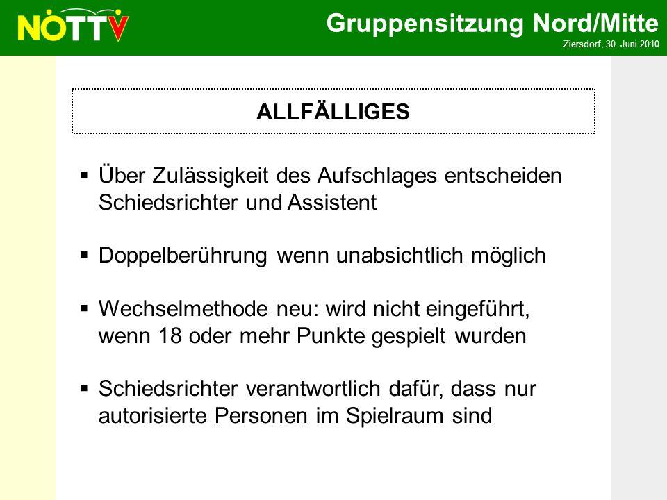 Gruppensitzung Nord/Mitte Ziersdorf, 30. Juni 2010 ALLFÄLLIGES Über Zulässigkeit des Aufschlages entscheiden Schiedsrichter und Assistent Doppelberühr