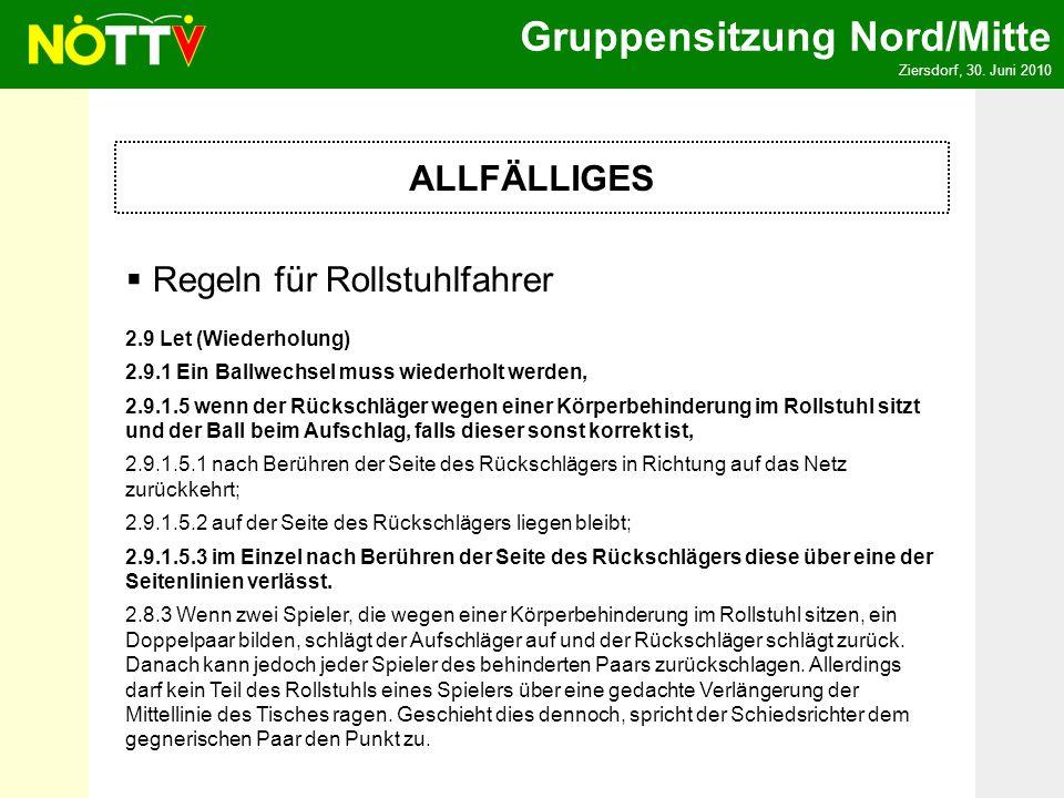 Gruppensitzung Nord/Mitte Ziersdorf, 30. Juni 2010 ALLFÄLLIGES Regeln für Rollstuhlfahrer 2.9 Let (Wiederholung) 2.9.1 Ein Ballwechsel muss wiederholt