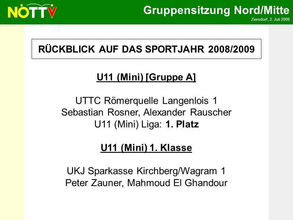 Gruppensitzung Nord/Mitte Ziersdorf, 2. Juli 2009 RÜCKBLICK AUF DAS SPORTJAHR 2008/2009 U11 (Mini) [Gruppe A] UTTC Römerquelle Langenlois 1 Sebastian