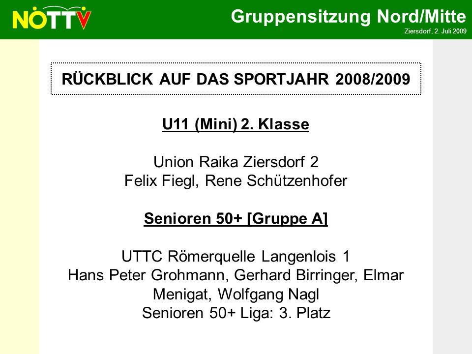 Gruppensitzung Nord/Mitte Ziersdorf, 2. Juli 2009 RÜCKBLICK AUF DAS SPORTJAHR 2008/2009 U11 (Mini) 2. Klasse Union Raika Ziersdorf 2 Felix Fiegl, Rene