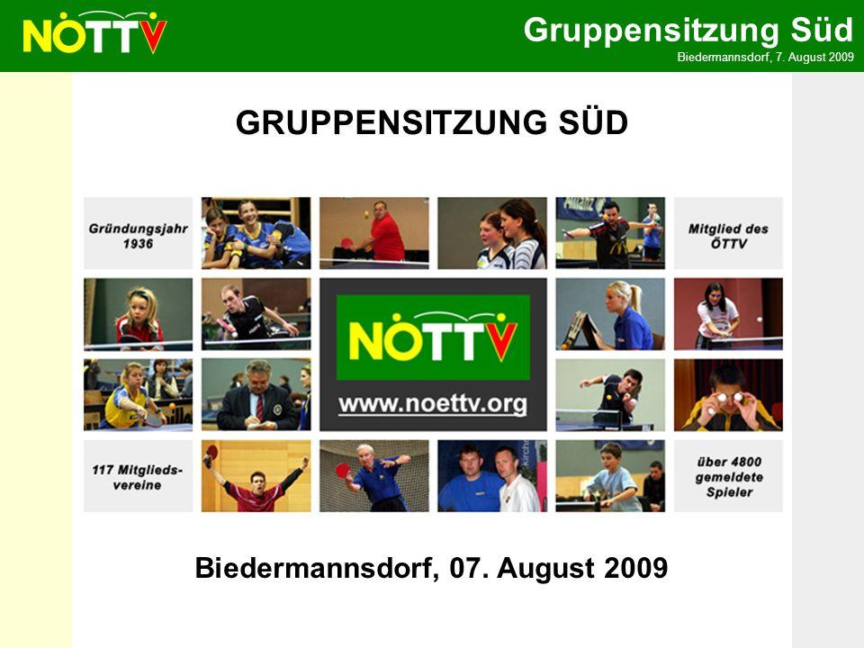 Gruppensitzung Süd Biedermannsdorf, 7.August 2009 Ausblick auf das Sportjahr 2009/2010 1.