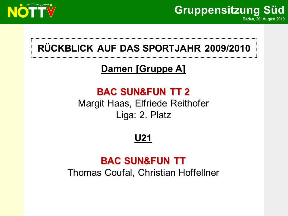 Gruppensitzung Süd Baden, 20. August 2010 RÜCKBLICK AUF DAS SPORTJAHR 2009/2010 Damen [Gruppe A] BAC SUN&FUN TT 2 BAC SUN&FUN TT 2 Margit Haas, Elfrie