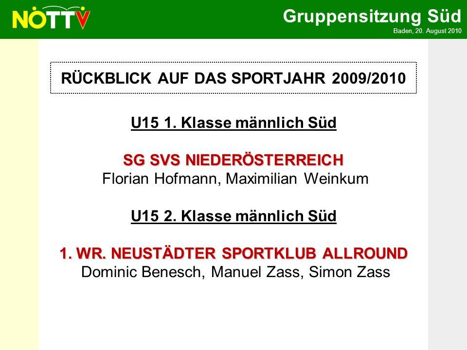 Gruppensitzung Süd Baden, 20. August 2010 RÜCKBLICK AUF DAS SPORTJAHR 2009/2010 U15 1. Klasse männlich Süd SG SVS NIEDERÖSTERREICH SG SVS NIEDERÖSTERR