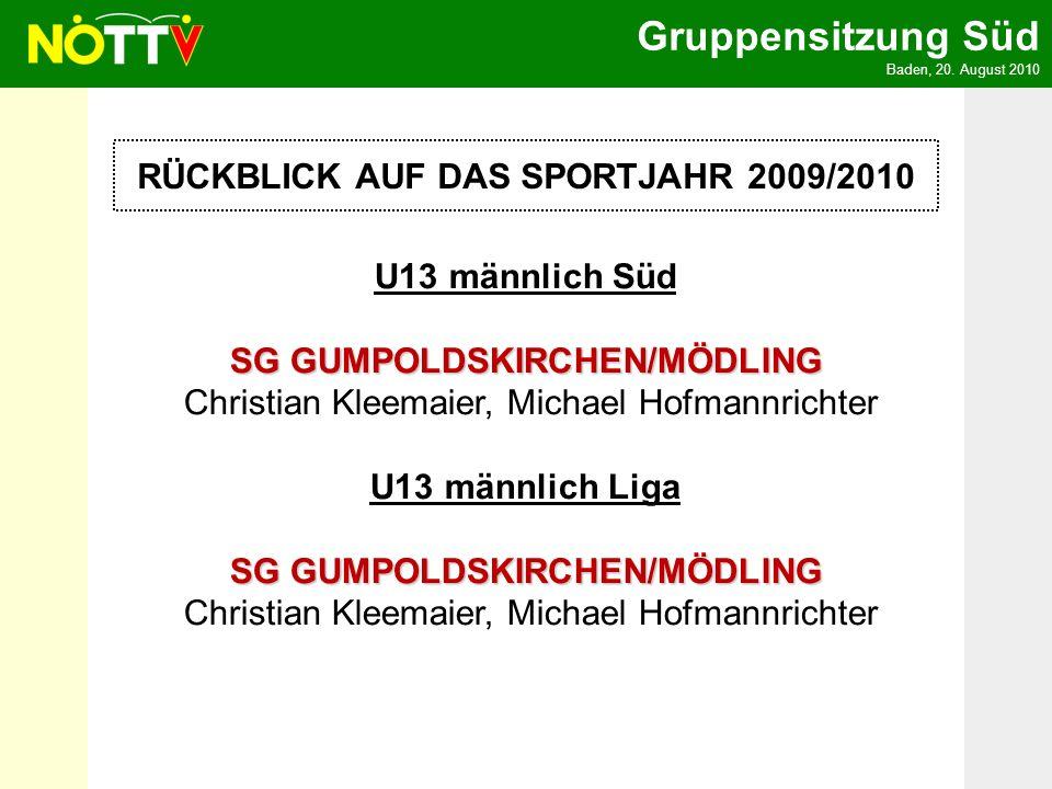 Gruppensitzung Süd Baden, 20. August 2010 RÜCKBLICK AUF DAS SPORTJAHR 2009/2010 U13 männlich Süd SG GUMPOLDSKIRCHEN/MÖDLING SG GUMPOLDSKIRCHEN/MÖDLING
