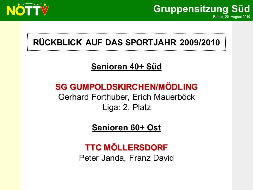 Gruppensitzung Süd Baden, 20. August 2010 RÜCKBLICK AUF DAS SPORTJAHR 2009/2010 Senioren 40+ Süd SG GUMPOLDSKIRCHEN/MÖDLING SG GUMPOLDSKIRCHEN/MÖDLING