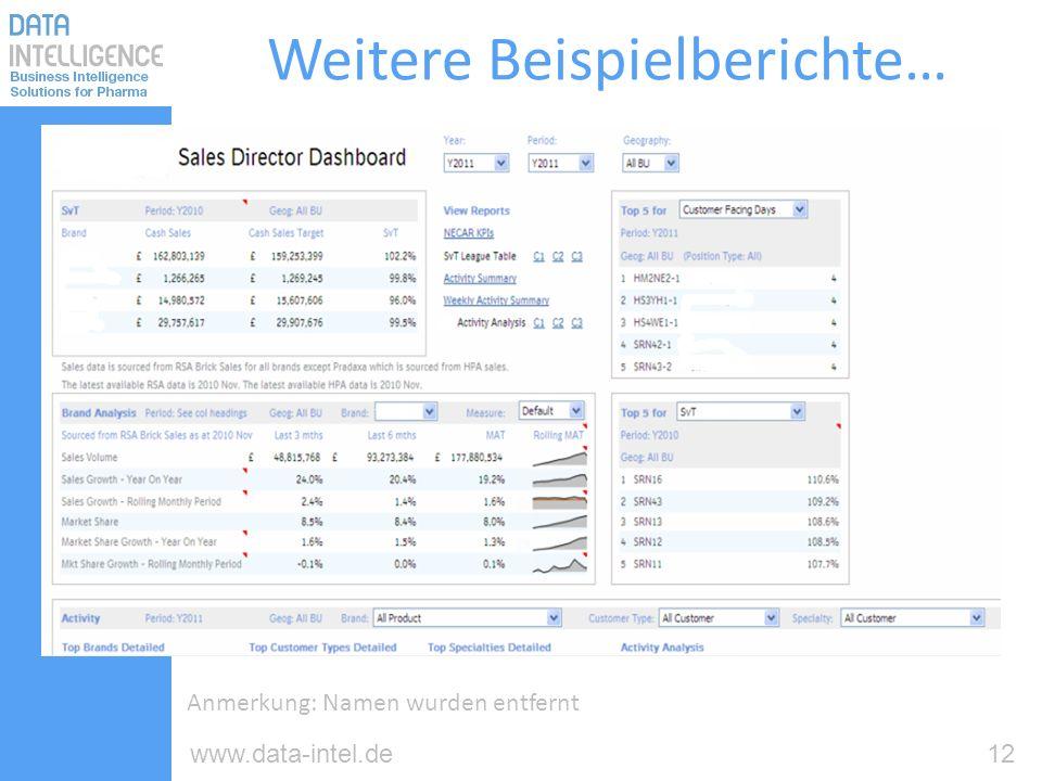 12www.data-intel.de Weitere Beispielberichte… Anmerkung: Namen wurden entfernt