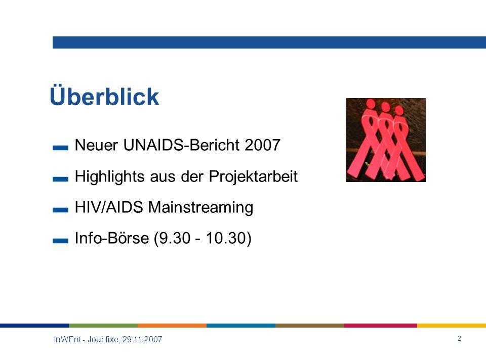 InWEnt - Jour fixe, 29.11.2007 2 Überblick Neuer UNAIDS-Bericht 2007 Highlights aus der Projektarbeit HIV/AIDS Mainstreaming Info-Börse (9.30 - 10.30)