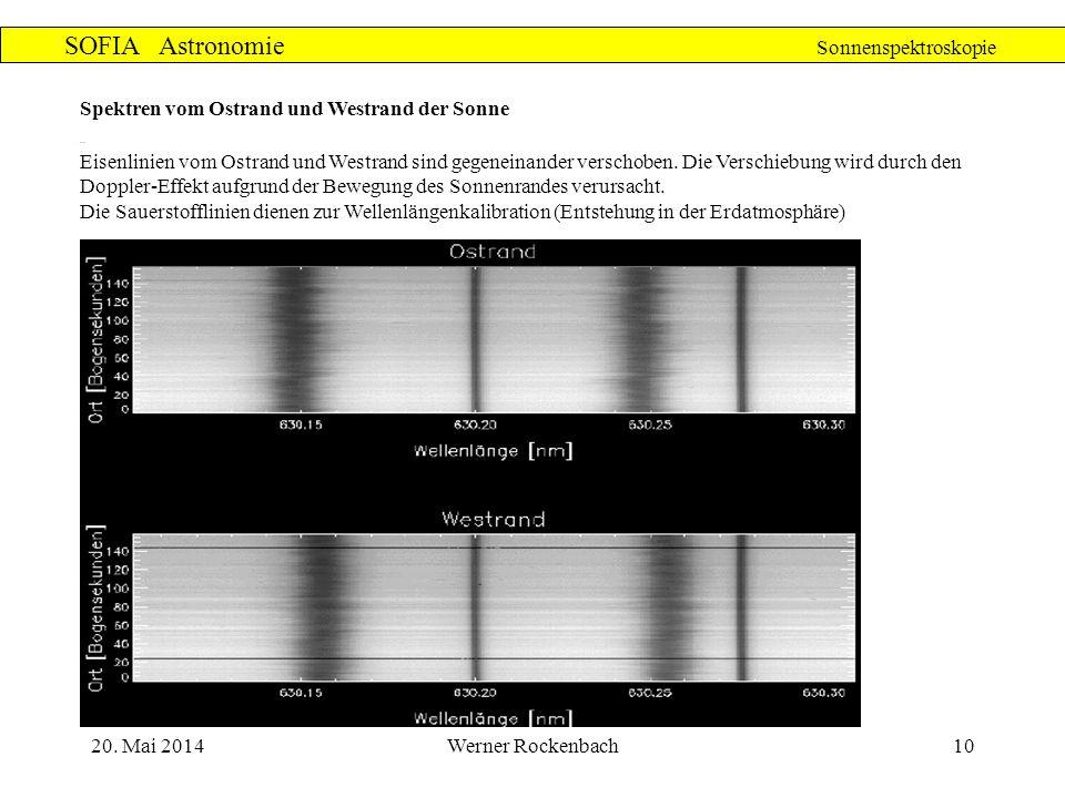 20. Mai 2014Werner Rockenbach10 SOFIA Astronomie Sonnenspektroskopie Spektren vom Ostrand und Westrand der Sonne Eisenlinien vom Ostrand und Westrand
