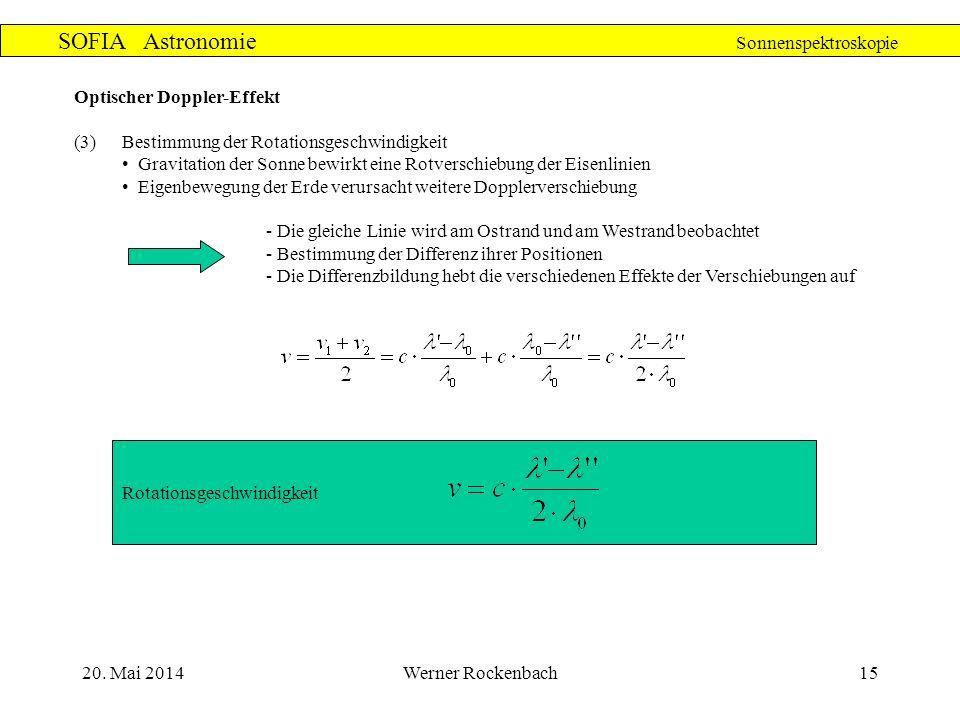 20. Mai 2014Werner Rockenbach15 SOFIA Astronomie Sonnenspektroskopie Optischer Doppler-Effekt (3)Bestimmung der Rotationsgeschwindigkeit Gravitation d