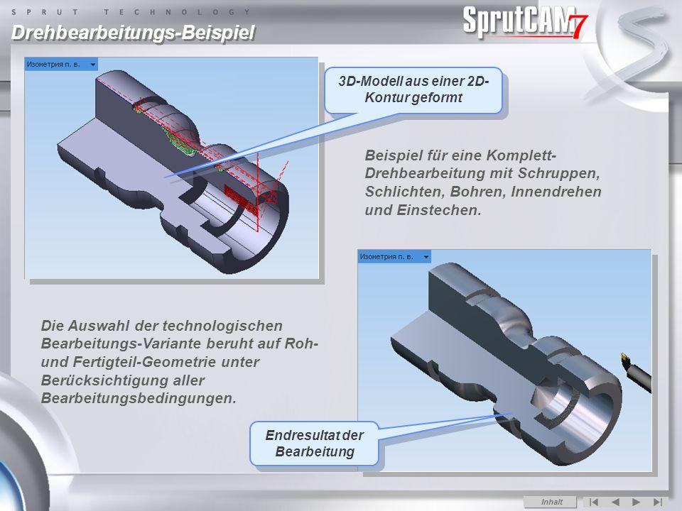 Drehbearbeitungs-Beispiel Die Auswahl der technologischen Bearbeitungs-Variante beruht auf Roh- und Fertigteil-Geometrie unter Berücksichtigung aller Bearbeitungsbedingungen.
