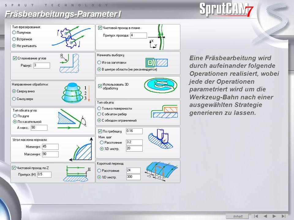 Fräsbearbeitungs-Parameter I Eine Fräsbearbeitung wird durch aufeinander folgende Operationen realisiert, wobei jede der Operationen parametriert wird um die Werkzeug-Bahn nach einer ausgewählten Strategie generieren zu lassen.