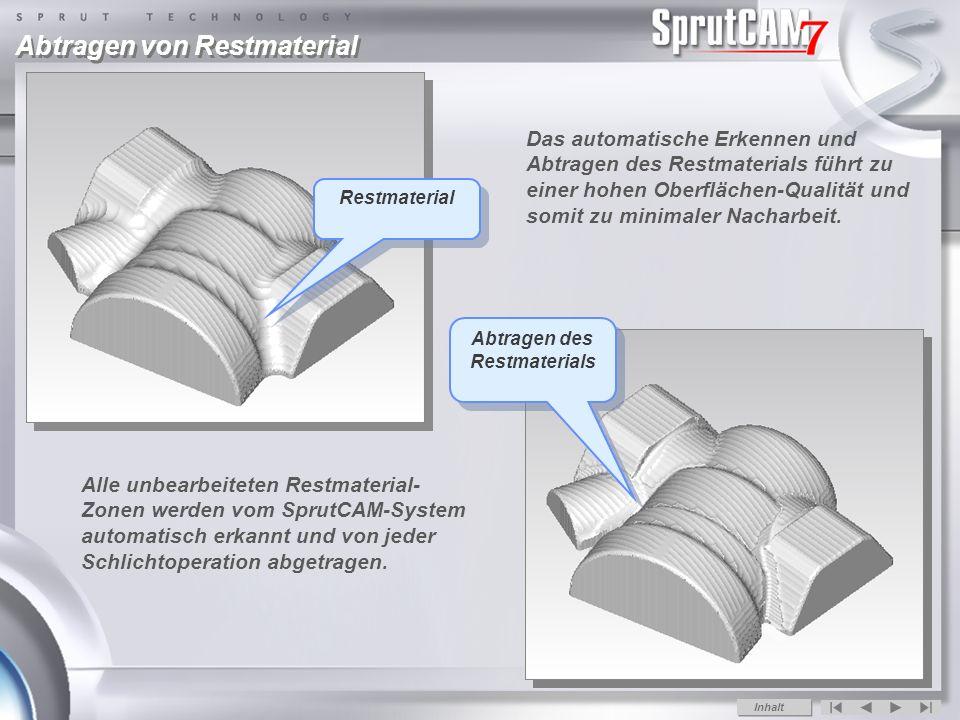 Restmaterial Abtragen von Restmaterial Das automatische Erkennen und Abtragen des Restmaterials führt zu einer hohen Oberflächen-Qualität und somit zu minimaler Nacharbeit.