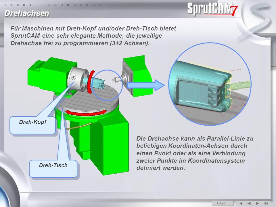 Drehachsen Für Maschinen mit Dreh-Kopf und/oder Dreh-Tisch bietet SprutCAM eine sehr elegante Methode, die jeweilige Drehachse frei zu programmieren (3+2 Achsen).