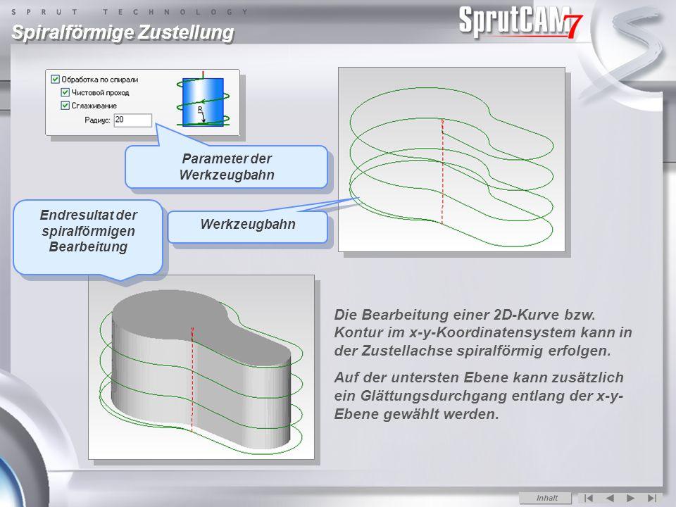 Spiralförmige Zustellung Die Bearbeitung einer 2D-Kurve bzw.