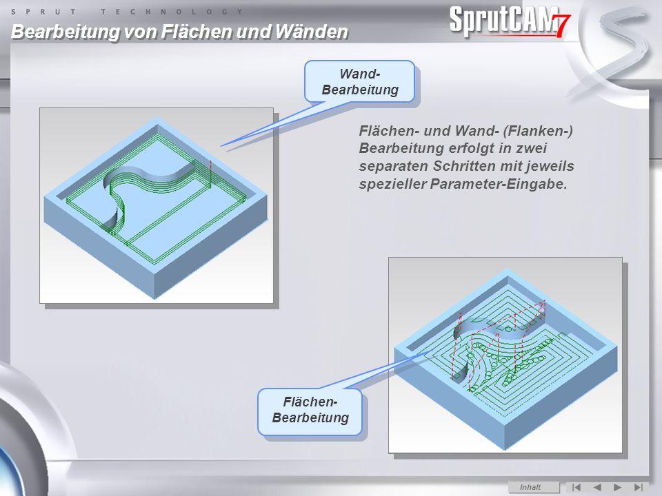 Bearbeitung von Flächen und Wänden Wand- Bearbeitung Flächen- Bearbeitung Flächen- und Wand- (Flanken-) Bearbeitung erfolgt in zwei separaten Schritten mit jeweils spezieller Parameter-Eingabe.