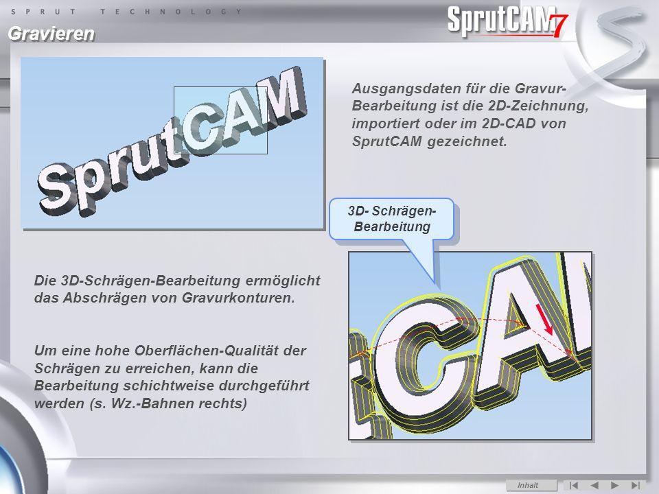 Ausgangsdaten für die Gravur- Bearbeitung ist die 2D-Zeichnung, importiert oder im 2D-CAD von SprutCAM gezeichnet.