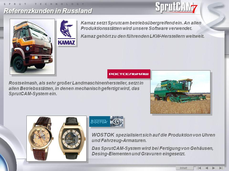 Referenzkunden in Russland Rostselmash, als sehr großer Landmaschinenhersteller, setzt in allen Betriebsstätten, in denen mechanisch gefertigt wird, das SprutCAM-System ein.