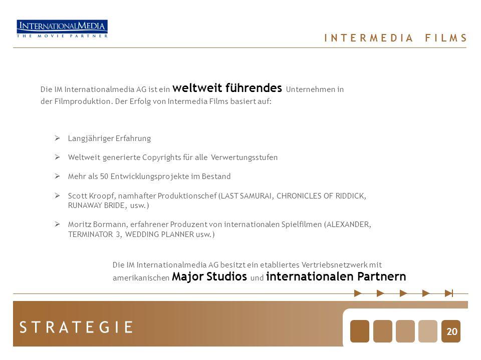 20 S T R A T E G I E Die IM Internationalmedia AG ist ein weltweit führendes Unternehmen in der Filmproduktion. Der Erfolg von Intermedia Films basier