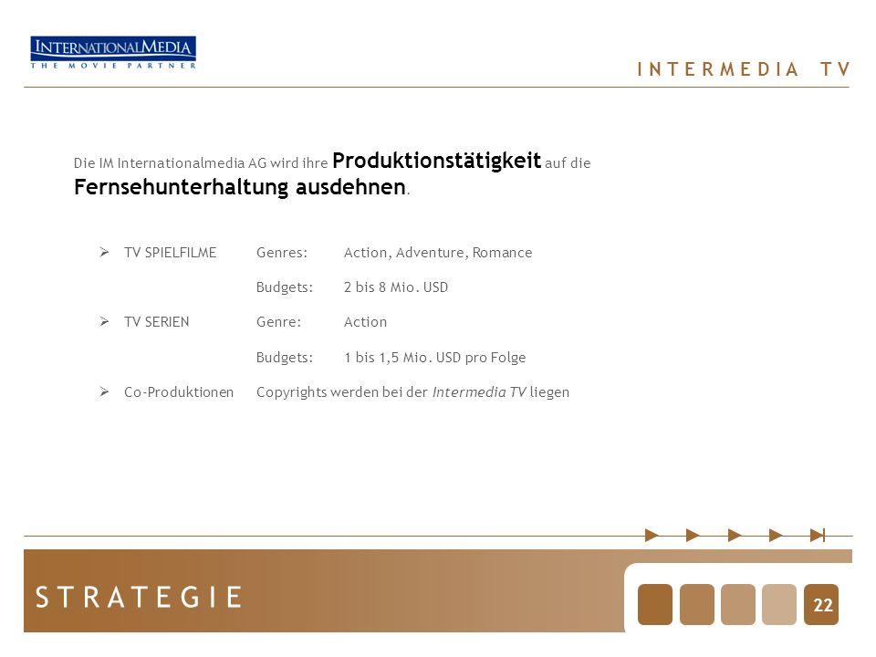 22 S T R A T E G I E I N T E R M E D I A T V Die IM Internationalmedia AG wird ihre Produktionstätigkeit auf die Fernsehunterhaltung ausdehnen.