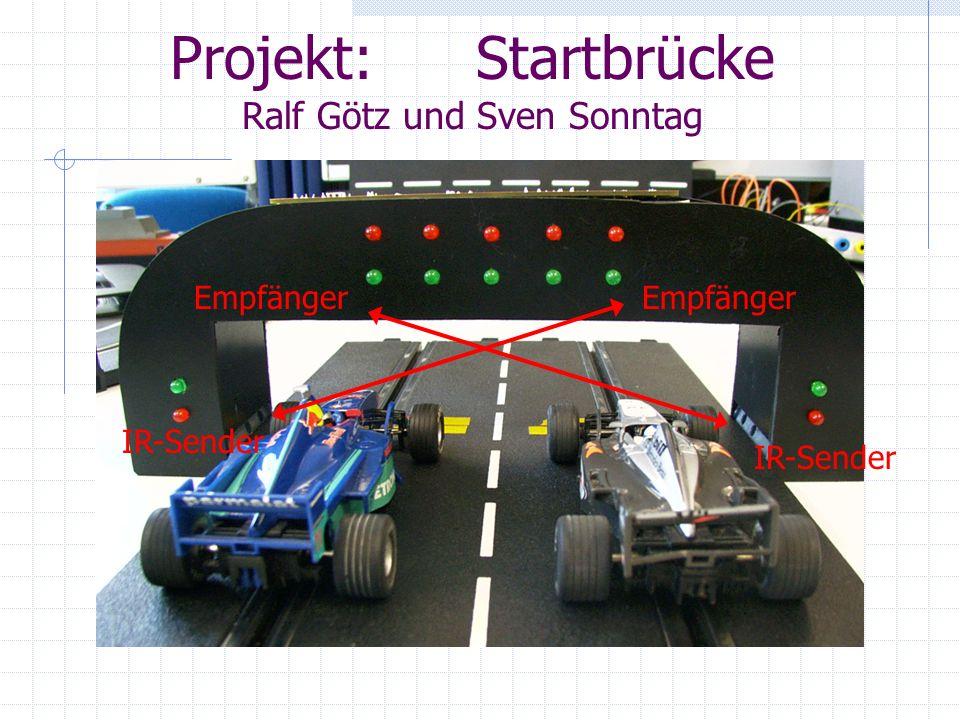 Aufgabenstellung Es wird der Prototyp einer Startvorrichtung für Modellautorennbahnen gefertigt, die mit einer Ampelanlage nach Motorsportvorbild den Start frei gibt.