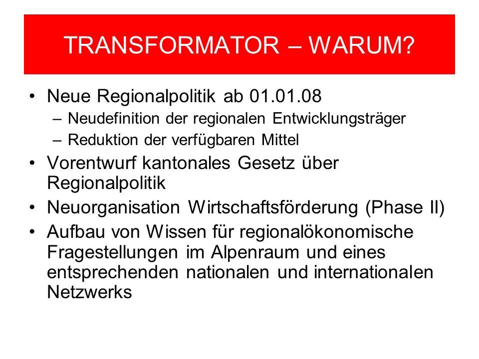 TRANSFORMATOR – WARUM? Neue Regionalpolitik ab 01.01.08 –Neudefinition der regionalen Entwicklungsträger –Reduktion der verfügbaren Mittel Vorentwurf
