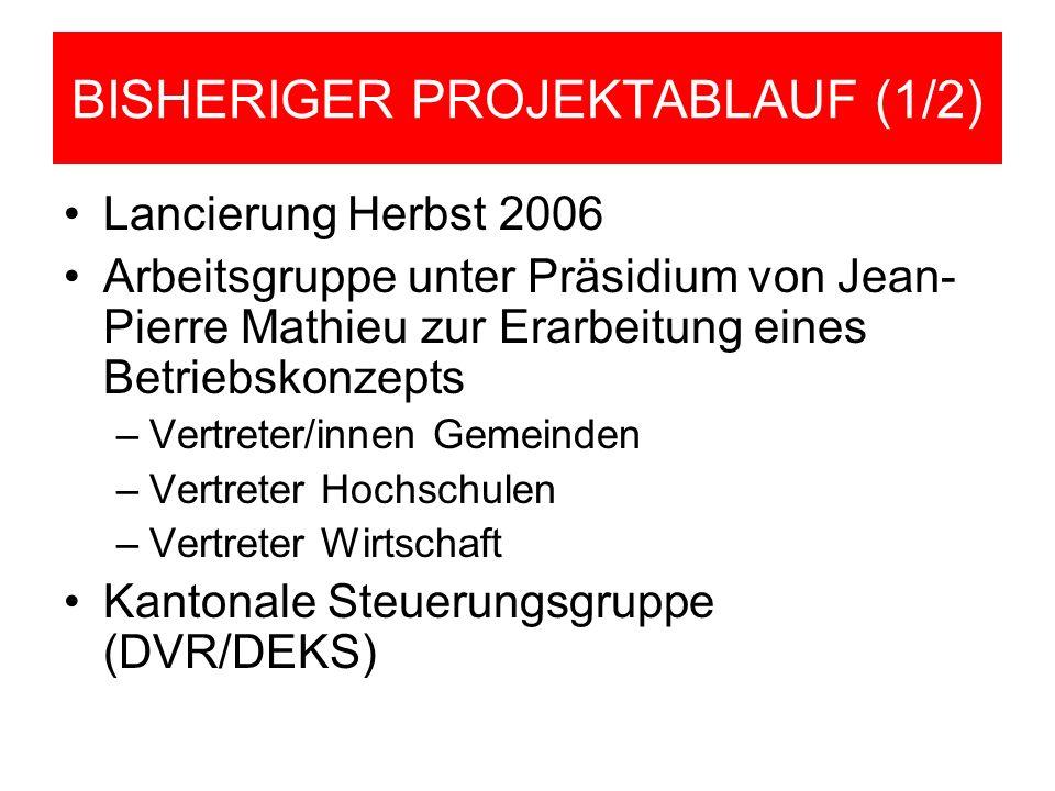 BISHERIGER PROJEKTABLAUF (1/2) Lancierung Herbst 2006 Arbeitsgruppe unter Präsidium von Jean- Pierre Mathieu zur Erarbeitung eines Betriebskonzepts –V