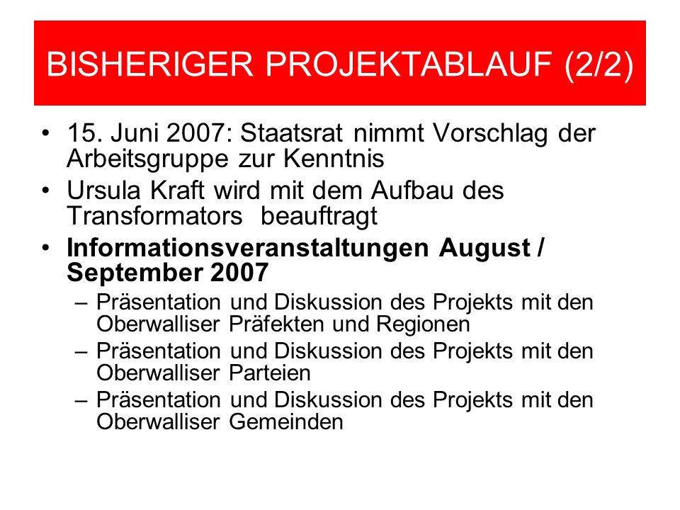 BISHERIGER PROJEKTABLAUF (2/2) 15. Juni 2007: Staatsrat nimmt Vorschlag der Arbeitsgruppe zur Kenntnis Ursula Kraft wird mit dem Aufbau des Transforma